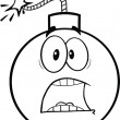 Black and White Scared Bomb Cartoon Character — 图库照片