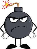 Angry Bomb Cartoon Character — Stock Photo