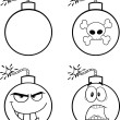 Black and White Bomb Cartoon Characters. Collection Set — 图库照片 #44290865