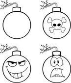 Black and White Bomb Cartoon Characters. Collection Set — Stock Photo