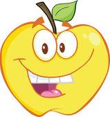 Smiling Yellow Apple Cartoon Mascot Character — Stock Photo