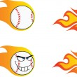 Постер, плакат: Flaming Baseball Balls Collection Set