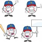 Baseball Ball Cartoon Characters 2  Collection Set — Stock Photo #45735331