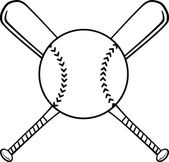 Black and White Crossed Baseball Bats And Ball — Stock Photo