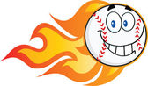 Smiling Flaming Baseball Ball Cartoon Character — Stock Photo