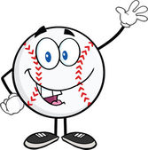 Baseball Ball Cartoon Mascot Character Waving For Greeting — Stock Photo