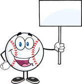 Happy Baseball Ball Holding A Blank Sign — Stock Photo
