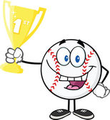 Happy Baseball Ball Holding First Prize Trophy Cup — Stock Photo