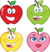 Apple Cartoon Characters  Collection Set — Stock Photo