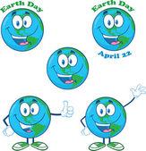 Dünya karikatür karakter küme — Stok fotoğraf
