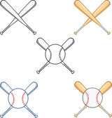 Crossed Baseball Bats  Collection Set — Stock Photo