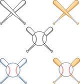 Crossed Baseball Bats  Collection Set — Стоковое фото