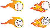 Flaming Baseball Balls  Collection Set — Stock Photo