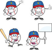 Baseball Ball Cartoon Characters 2  Collection Set — Stock Photo
