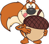 Squirrel Cartoon Character Holding A Big Acorn — Photo