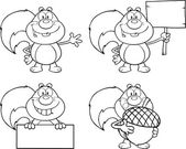 Black And White Squirrel Cartoon Character  Collection Set — Photo