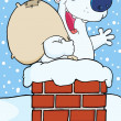 Happy Santa Polar Bear In Chimney — Stock Photo #4727369