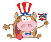 Patriotic Calf Cartoon Character — Foto Stock