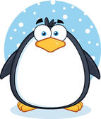 Cute Penguin Cartoon Character In The Snow — Stock Photo