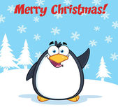 Merry Christmas Greeting With Funny Penguin Character Waving — Stock Photo
