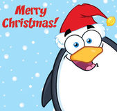 Merry Christmas With Cute Penguin Character Looking From A Corner — Stock Photo