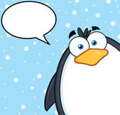 Cute Penguin Character Looking From A Corner With Speech Bubble — Stock Photo