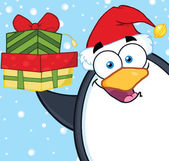 Smiling Penguin Character Holding Up A Stack Of Gifts — Stockfoto