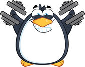 Smiling Penguin Cartoon Character Training With Dumbbells — Stock Photo