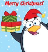 Merry Christmas With Penguin Cartoon Character Holding Up A Stack Of Gifts — Stock Photo