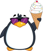 Cute Penguin With Sunglasses And Ice Cream — Stockfoto