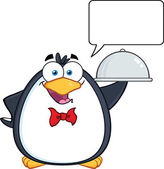 Waiter Penguin Serving Food On A Platter With With Speech Bubble — Stock Photo