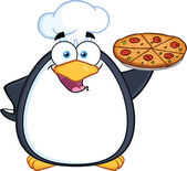 Chef Penguin Holding A Pizza Pie — Stock Photo