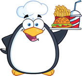 Chef Penguin Holding A Platter With French Fries And A Soda — Stock Photo
