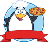 Chef Penguin Holding A Pizza Pie Circle Banner — Stock Photo