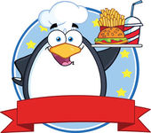 Chef Penguin Holding A Platter With French Fries And A Soda Circle Banner — Stock Photo