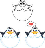 Penguin Cartoon Character Poses 5  Collection Set — Stock Photo