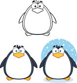 Penguin Cartoon Character Poses 1  Collection Set — Stock Photo