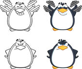 Penguin Cartoon Character Poses 7  Collection Set — Stock Photo