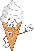 Ice Cream Cartoon Mascot Character Waving — Stock Photo
