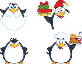 Penguin Cartoon Character Poses 11  Collection Set — Stock Photo