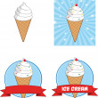 Ice Cream Cone Circle Banners. Collection Set — Stock Photo #49120041