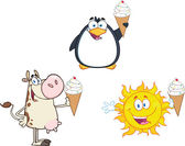 Different Mascots Holding A Ice Cream. Collection Set — Stock Photo