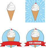 Ice Cream Cone Circle Banners. Collection Set — 图库照片