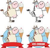 Bir dondurma daire pankartlar inek karakter. toplama seti — Stok fotoğraf