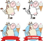 Cow Character Holding A Ice Cream Circle Banners. Collection Set — Photo