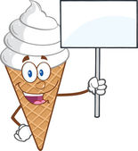 Ice Cream Cartoon Mascot Character Holding A Blank Sign — Zdjęcie stockowe
