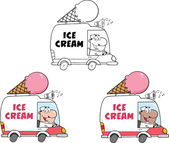 Ice Cream Truck. Collection Set — Stock Photo