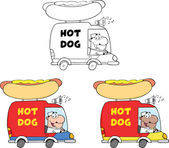 Hot Dog Trucks. Collection Set — Stock Photo