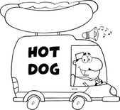 Black And White Happy Hot Dog Vendor Driving Truck — Photo
