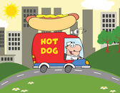 Happy Hot Dog Vendor Driving Truck In The Town — Stock Photo